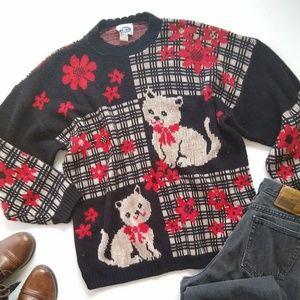 Vintage • cat patchwork oversized cozy sweater